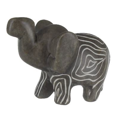 Elephant Walking Small Soapstone Carving with Info Card