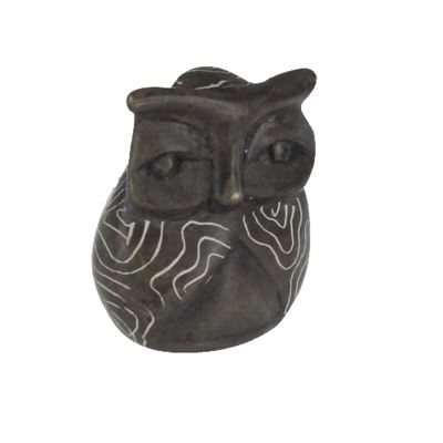 Owl Small Soapstone Carving with Info Card