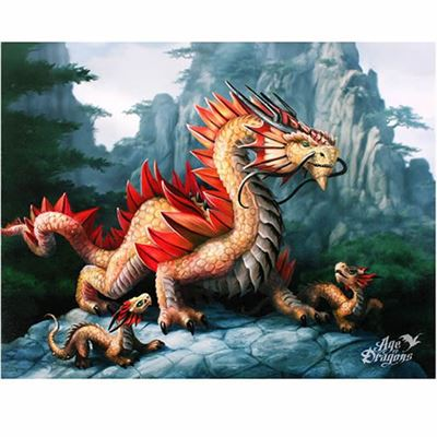 Golden Mountain Dragon Canvas Picture by Anne Stokes