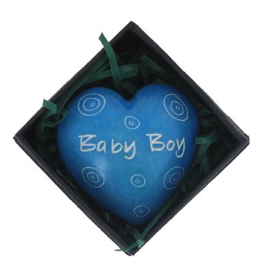 Baby Boy Blue Heart in Gift Box Fair Trade