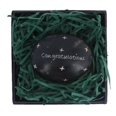 Congratulations Large Oval Stone in Gift Box Fair Trade