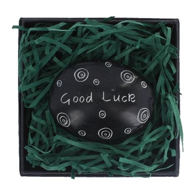 Good Luck Large Oval Stone in Gift Box Fair Trade