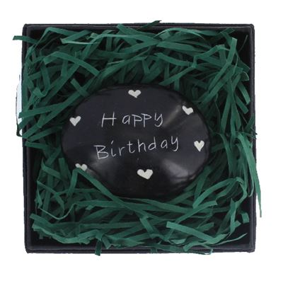 Happy Birthday Large Oval Stone in Gift Box Fair Trade