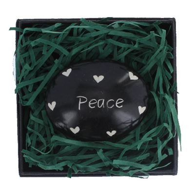 Peace Large Oval Stone in Gift Box Fair Trade