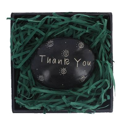 Thank You Large Oval Stone in Gift Box Fair Trade