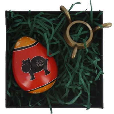 Hippo Egg in Gift Box with Stand Fair Trade