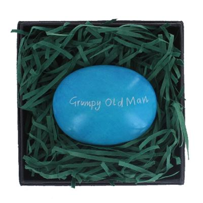 Grumpy Old Man Large Pebble in Gift Box Fair Trade