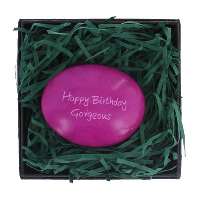 Happy Birthday Gorgeous Large Pebble in Gift Box Fair Trade