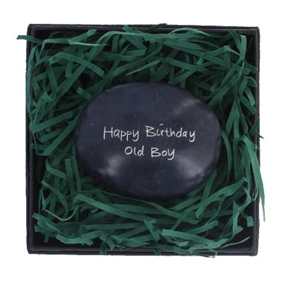 Happy Birthday Old Boy Large Pebble in Gift Box Fair Trade