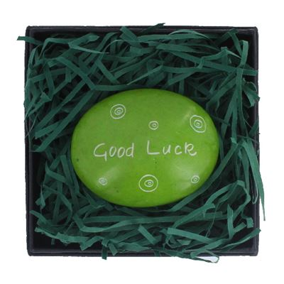 Good Luck Large Oval Coloured Stone in Gift Box Fair Trade