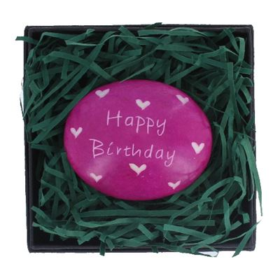 Happy Birthday Large Oval Coloured Stone in Gift Box Fair Trade