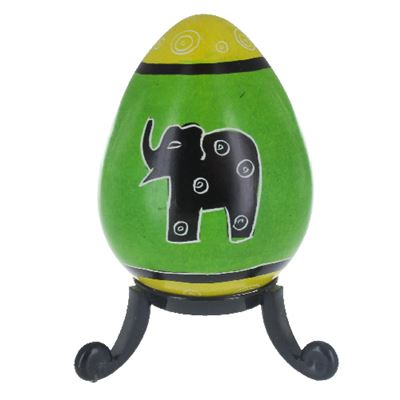 Elephant Soapstone Egg with Free Stand