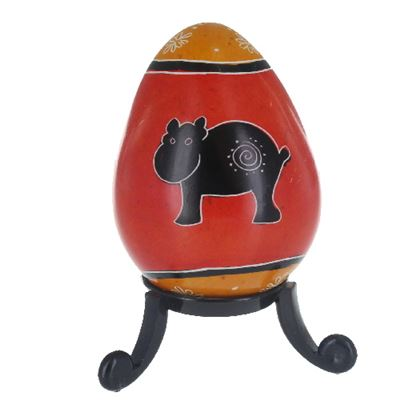 Hippo Soapstone Egg with Free Stand