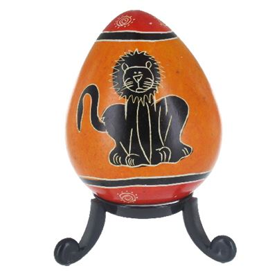 Lion Soapstone Egg with Free Stand