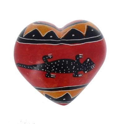 Lizard Soapstone Heart Large