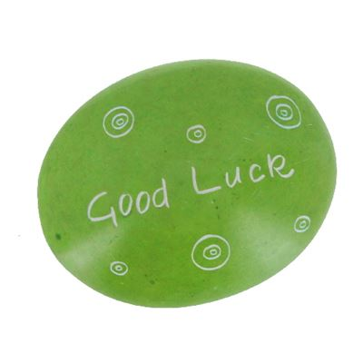Good Luck Large Oval Soapstone Pebble