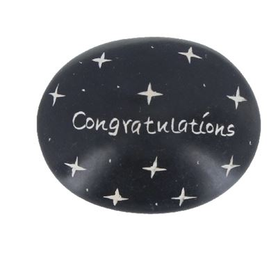 Congratulations Large Oval Soapstone Pebble