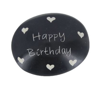 Happy Birthday Large Oval Soapstone Pebble