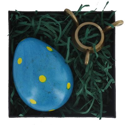 Blue Soapstone Egg with Yellow Polkadots in Gift Box and Free Stand