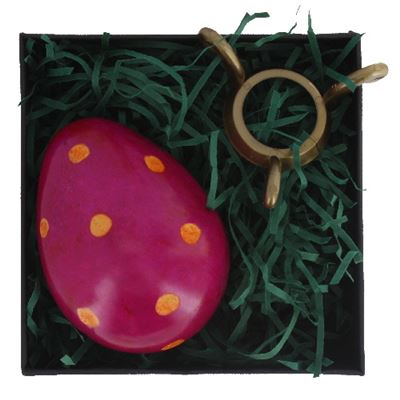 Purple Soapstone Egg with Orange Polkadots in Gift Box and Free Stand