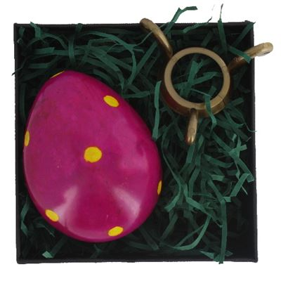 Purple Soapstone Egg with Yellow Polkadots in Gift Box and Free Stand