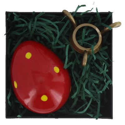 Red Soapstone Egg with Yellow Polkadots in Gift Box and Free Stand