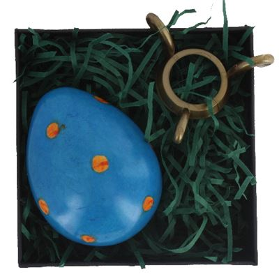 Blue Soapstone Egg with Orange Polkadots in Gift Box and Free Stand