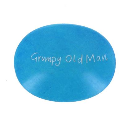 Grumpy Old Man Large Oval Soapstone Pebble