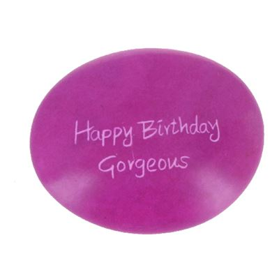 Happy Birthday Gorgeous Large Oval Soapstone Pebble