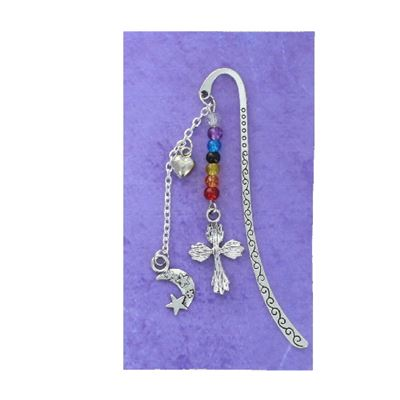 Cross & Moon Silver Plated Book Mark 8.5cm