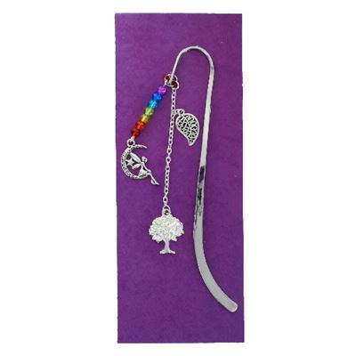 Fairy on Moon, Tree & Leaf Silver Plated Book Mark 12.5cm