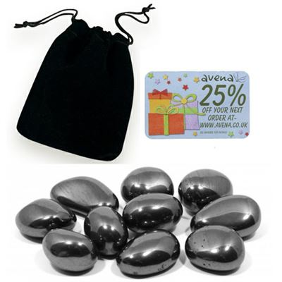 Hematite Gift Pouch of Ten Polished Tumblestones