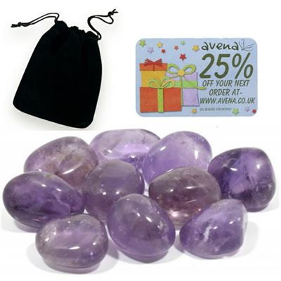 Amethyst Gift Pouch of Ten Polished Tumblestones