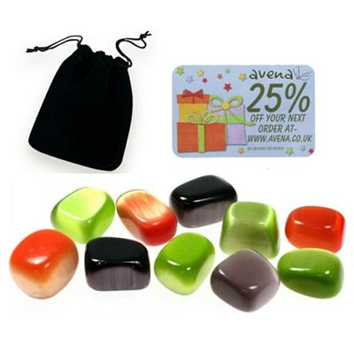 Cat's Eye Assorted Colours Gift Pouch of Ten Polished Tumblestones