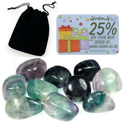 Fluorite Gift Pouch of Ten Polished Tumblestones