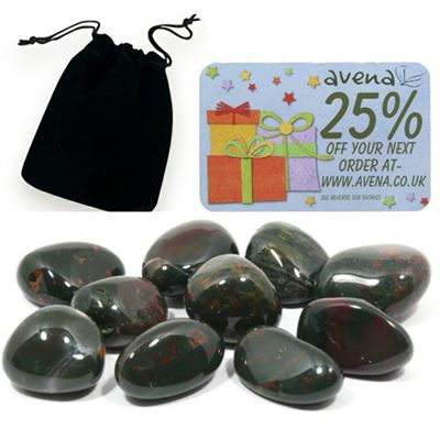 Bloodstone Gift Pouch of Ten Polished Tumblestones