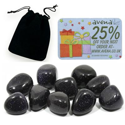 Blue Goldstone Gift Pouch of Ten Polished Tumblestones