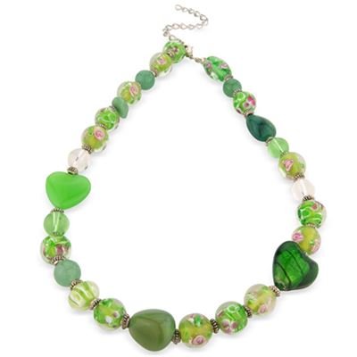Floral Heart Necklace Green