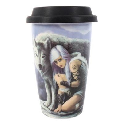 Protector Wolf Ceramic Travel Mug