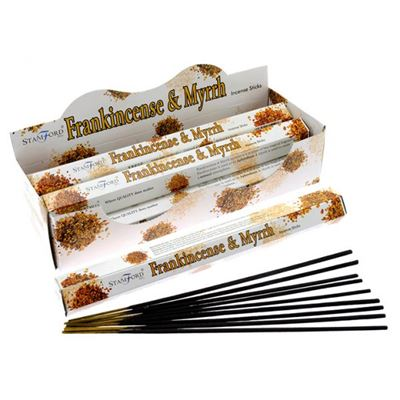 Frankincense & Myrrh Incense Sticks Hexagonal Pack Stamford 20g