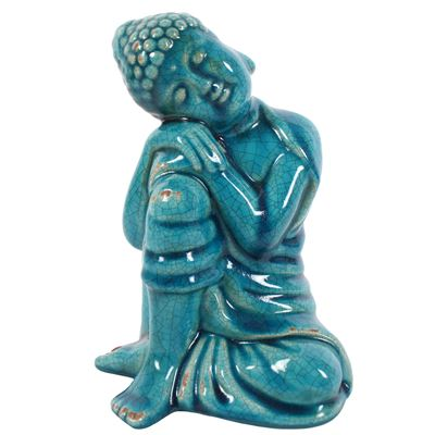 Thai Buddha Blue Crackled Glaze Large