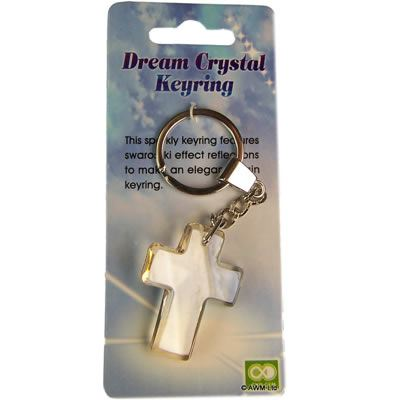 Crucifix Crystal Key Ring