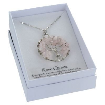 Tree of Life Rose Quartz Pendant in Gift Box