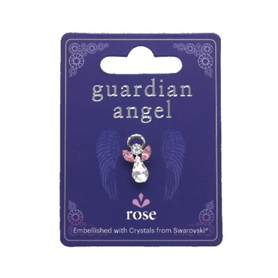 Rose Quartz Guardian Angel Pin With Swarovski Crystal