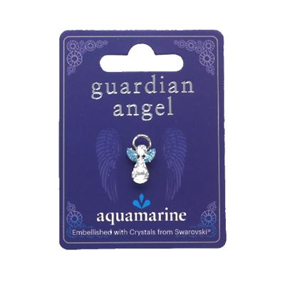 Aquamarine Guardian Angel Pin With Swarovski Crystal