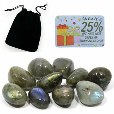 Labradorite Gift Pouch of Ten Polished Tumblestones