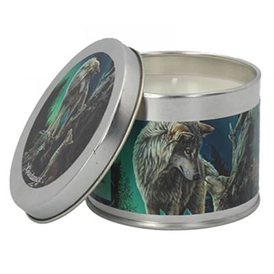 Guidance Wolf with Cub Candle in a Tin