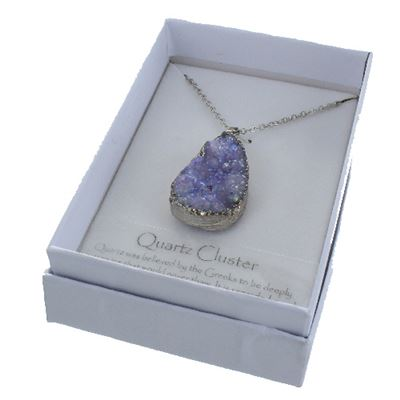 Purple Quartz Cluster Necklace Pendant