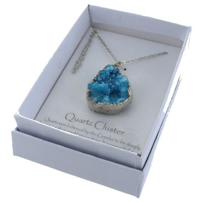 Blue Quartz Cluster Necklace Pendant