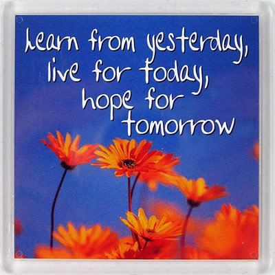 Learn from yesterday, live for today, hope for tomorrow Fridge Magnet 199